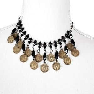 Beaded and Faux Antique Coin Choker Necklace